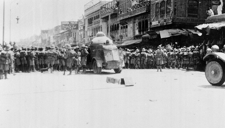 On April 23rd 1930, British troops stormed Peshawar to suppress non-violent demonstrators who were protesting the arrest of Ghaffar Khan. As troops moved into the Bazaar, British armored cars drove into the square at high-speed, killing several people, and then opened fire with machine guns on the unarmed crowd.  Almost 400 were gunned down by British forces at the Qissa Khwani Bazaar (the Storytellers market).