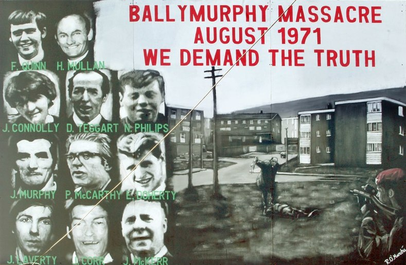 The Ballymurphy Massacre saw the British Army murder 11 civilians in cold blood over a 36 hour period. On Monday 9th August 1971 internment without trial was introduced by the British government in the North of Ireland. Over 600 British soldiers entered the Ballymurphy area of West Belfast, raiding homes and rounding up men. Young and old were shot and beaten as they were dragged from their homes. All 11 of the unarmed civilians were murdered by the British Army's Parachute Regiment who would go on to carry out more massacres in the North of Ireland.