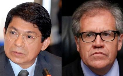 Denis Moncada Colindres (R), Nicaraguan representative to the OAS, called for the OAS secretary-general, Luis Almagro to step down.