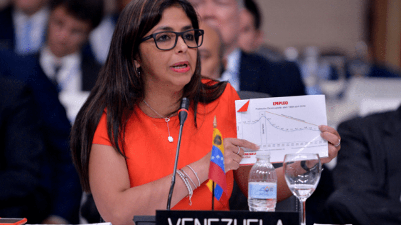 Venezuelan Foreign Minister Delcy Rodriguez speaks at the OAS session in Santo Domingo, Dominican Republic, June 15, 2016.