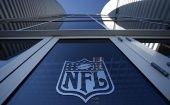 The NFL logo appears on an entrance door to the football stadium in Glendale, Arizona.