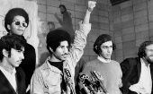 Members of The Young Lords during a press conference in NY, during the 60s