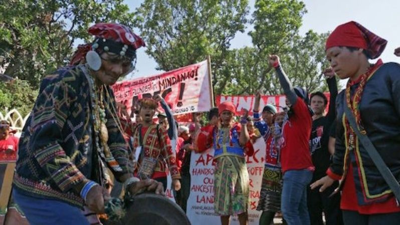 Lumad people protest against the Asia Pacific Economic Cooperation (APEC) Summit on November 19, 2015