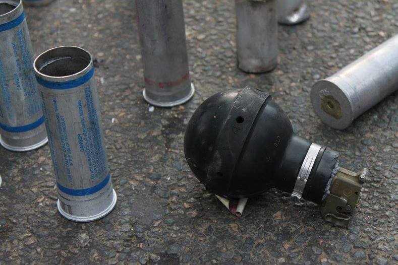 Combined Tactical Systems teargas deployed; the same gas has been used against protesters as far as Ferguson, Missouri, U.S.A., and Bethlehem, West Bank, Palestine.