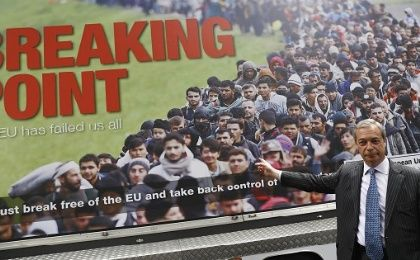 "UKIP leader Nigel Farage standing behind a ""Brexit"" campaign poster some have compared to those used by the Nazis during World War II."