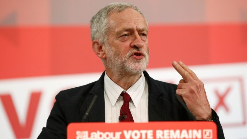 "Leader of the Labor Party Jeremy Corbyn speaks in favor of the ""remain"" vote."