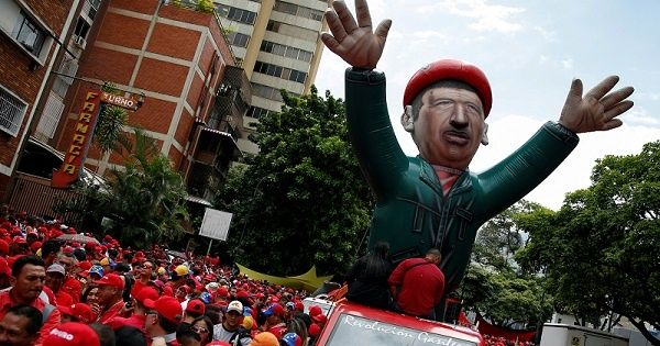 A giant inflatable doll of Venezuela