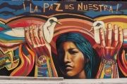 "A mural on the streets on Bogota, Colombia reads,""Peace is ours!"""