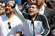 Maradona reacts on the eve of the opening of the Euro 2016 in Paris, June 9, 2016.