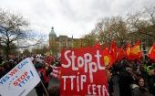 Protesters demonstrate against against Comprehensive Economic and Trade Agreement (CETA) and Transatlantic Trade and Investment Partnership (TTIP) agreements