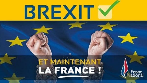 "A poster by France's far right National Front party celebrates the ""leave"" vote in the Brexit referendum on the U.K. quitting the European Union."