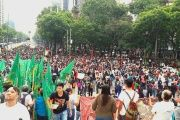Supporters and members of the CNTE gather in Mexico City June 24 to protest against education reform.