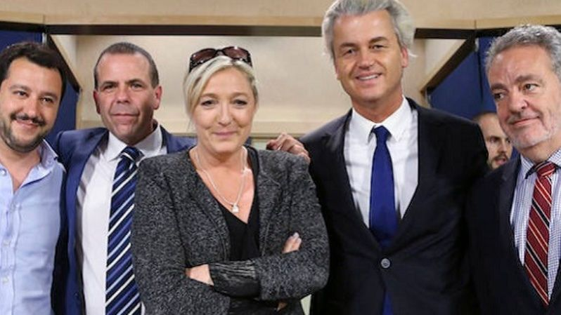 Far-right European leaders at the European Parliament in May 201, including Marine Le Pen, Geert Wilders, and Gerolf Annemans, member of Belgium