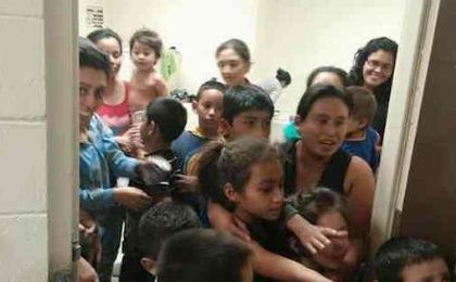 Unaccompanied migrant children are shown at a Department of Health and Human Services facility in south Texas.