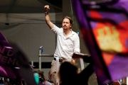 Podemos party leader Pablo Iglesias gestures to supporters after Spain's general election in Madrid, Spain, June 27, 2016.