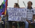 Protesters demand freedom for jailed leader Milagro Sala.