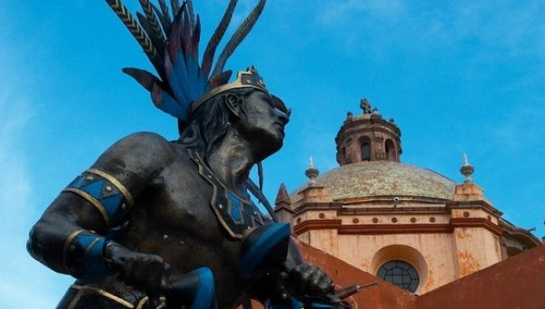 A statue of an Otomi warrior seen in  Santiago de Queretaro, Mexico.