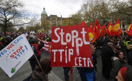 Protesters demonstrate against against Comprehensive Economic and Trade Agreement (CETA) and Transatlantic Trade and Investment Partnership (TTIP) agreements in Hannover, Germany.