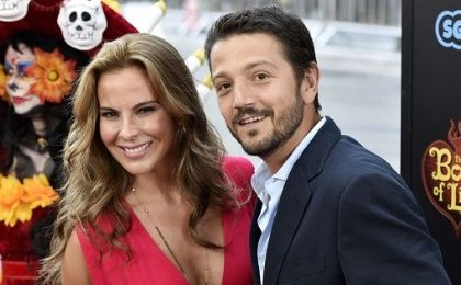 Archive image of Mexican actors Castillo (L) and Luna at a movie premiere in 2014