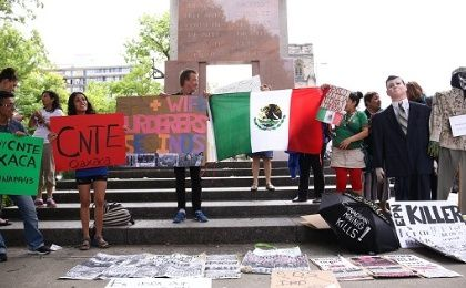 Activists from Canada, U.S., and Mexico gathered in Ottawa to demonstrate against the TPP and Mexican President Peña Nieto.