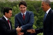 Mexico's President Enrique Pena Nieto, Canada's Prime Minister Justin Trudeau and U.S. President Barack Obama shake hands while posing for the family photo at the North American Leaders' Summit in Ottawa, Ontario, Canada, June 29, 2016.