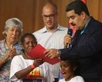 "Venezuel's President Maduro celebrates the 13th anniversary of the social program known as ""Mission Robinson."