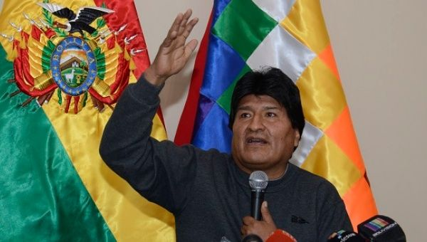 Bolivian President Evo Morales addresses the media during a press conference from the presidential palace, La Paz, Bolivia, June 30, 2016.