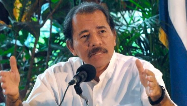 President Ortega during a press conference in Managua