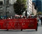 Textile workers march in support of Enatex workers in La Paz, Bolivia.