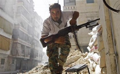 Syrian fighter during a battle with government forces