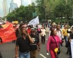 Striking teachers take part in the mega-march held in central Mexico City.