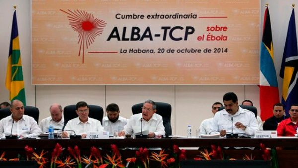 Heads of state at a meeting of the ALBA bloc.