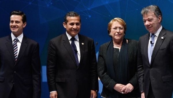 Presidents Peña Nieto, Humala, Bachelet and Santos during the Summit