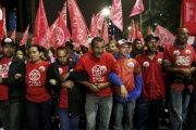 Members of the MST during a campesino march in Sao Paulo, Brazil.