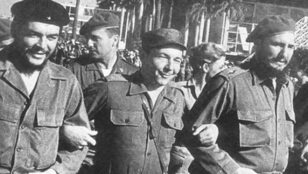 Archival photo of Che Guevara, Raul Castro and Fidel Castro.