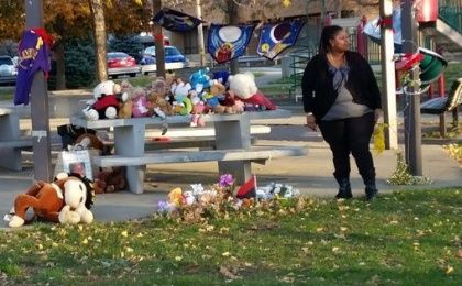 Samaira Rice stands in the park, now a memorial, where her son Tamir was killed by police.