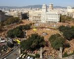 Thousands attend a gathering at the Catalonia Square in Barcelona, Spain, Oct. 19, 2014.