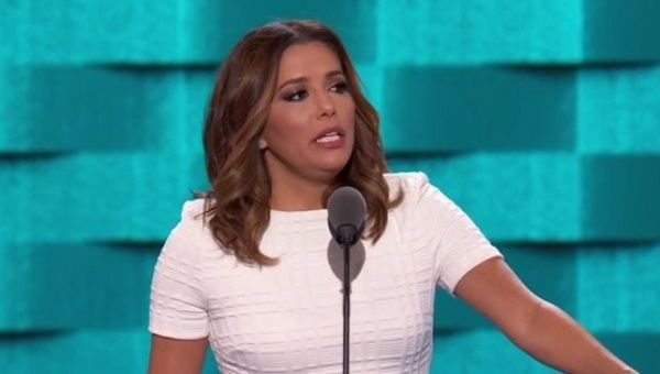 Eva Longoria speaks at the DNC in Philadelphia, July 26, 2016.