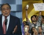 Panetta spoke as anti-war protesters chanted.