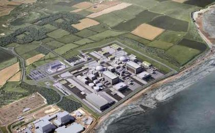 An image released by EDF of the proposed nuclear reactors at Hinkley Point C. Photograph