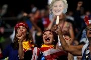 Supporters of Hillary Clinton cheer on the final night at the Democratic National Convention in Philadelphia, Pennsylvania, U.S. July 28, 2016.