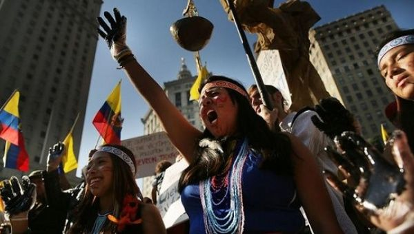 Indigenous communities of Ecuador protesting against the oil giant