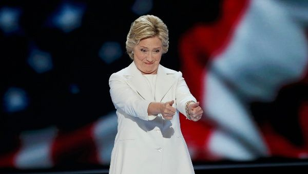 Hillary Clinton arrives to accept the nomination on the fourth and final night at the Democratic National Convention in Philadelphia, Pennsylvania, U.S. July 28, 2016.