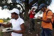 Illegal migrants from Honduras eat under a tree near a railway line before trying to climb onto a moving train in Huehuetoca, August 7, 2012.