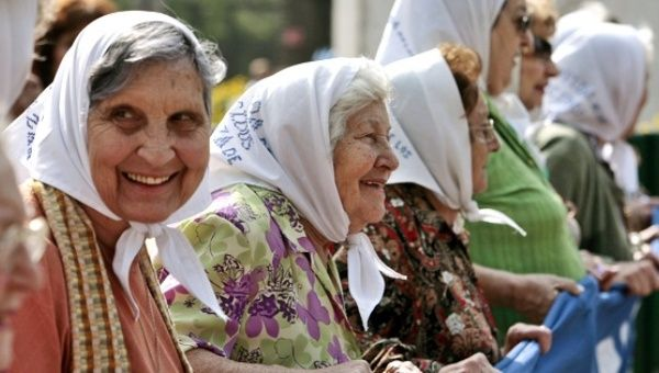 The Mothers of Plaza de Mayo during their weekly protest in Buenos Aires