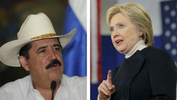 Former Honduran President Manuel Zelaya and former Secretary of State Hillary Clinton