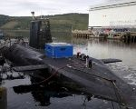 A nuclear submarine is seen at the Royal Navy's submarine base at Faslane, Scotland, Aug. 31, 2015.