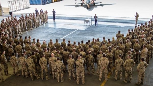 German Defence Minister Ursula von der Leyen addresses the Counter-Isis Group contingent at Incirlik airbase in Adana, Turkey.