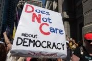 Protesters at the DNC in Philadelphia denounce the party's clearly undemocratic processes, as evidenced by disdainful emails released in the latest WikiLeaks dump.