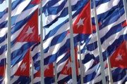 Cuban flags on display.